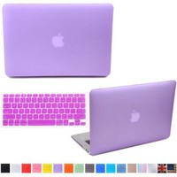 "HDE Matte Hard Shell Clip Snap-on Case + Matching Keyboard Skin for MacBook Air 13"" - Fits Model A1369 / A1466 (Purple)"