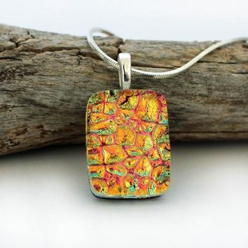 Unique, Colorful Dichroic Glass Pendant Necklace