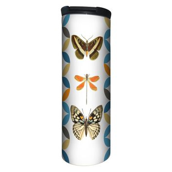 Butterfly and Dragonfly Barista Tumbler Travel Mug - 17 Ounce, Spill Resistant, Stainless Steel & Vacuum Insulated