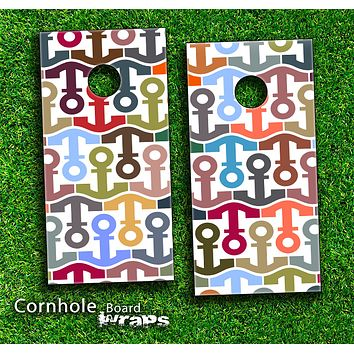 Anchor Collage Skin-set for a pair of Cornhole Boards