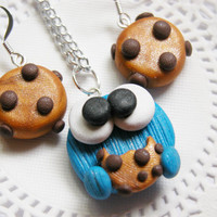 Cookie Monster Jewelry Set Kawaii Cookie Monster Necklace Set Earrings And Necklace for Tweens, Teens and Adults