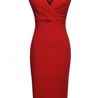 Red V-Neck Sleeveless Maxi Dress