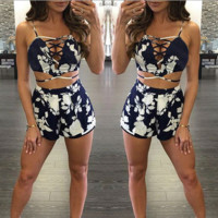 Summer fashion  bind printed two-piece outfit