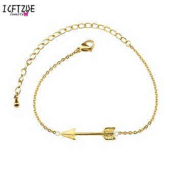 ICFTZWE 10pcs Famous Brand Gold Color Hand Chain Jewelry Stainless Steel The Hunger Game Arrow Bracelet Women BFF