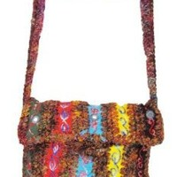 Hobo Bohemian Hippie Gypsy Recycled Silk and Hemp Flap Shoulder Sling Crossbody Cotton Handmade Purse Monk Bag Nepal