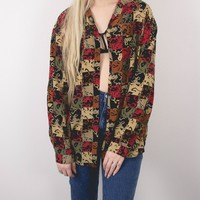 Vintage Abstract Autumn Button Up Blouse