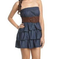 Tube Tiered Belted Dress - Teen Clothing by Wet Seal