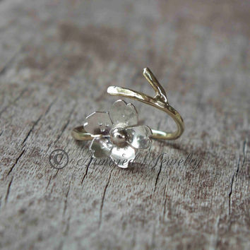 Sakura Ring - Japanese Cherry Blossom Branch Adjustable Ring - Gold filled branch band with Sterling Silver Blossom