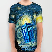 Flying Blue phone Box oil painting All Over Print Shirt by Greenlight8