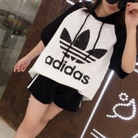 """Adidas"" Fashion Casual Multicolor Clover Letter Short Sleeve Hooded Sweater Set Two-Piece Sportswear"
