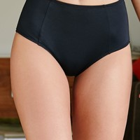 LA Hearts Solid High Waisted Bikini Bottom - Womens Swimwear - Black
