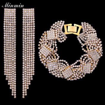 Minmin Bridal Jewelry Sets Gold-color Wedding Bracelets Long Tassel Earrings African Beads Sets for Women Gifts EH424+SL076