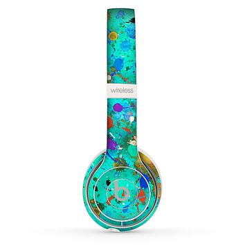 The Trendy Green with Splattered Paint Droplets Skin Set for the Beats by Dre Solo 2 Wireless Headphones