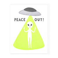 Peace Out Alien Greeting Card
