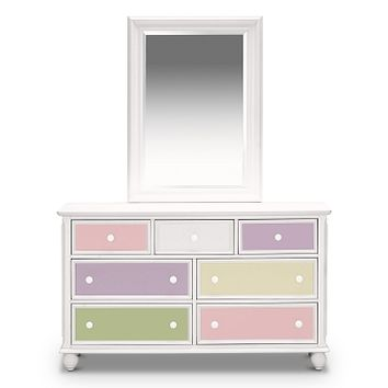 Colorworks White Kids Furniture Dresser & Mirror