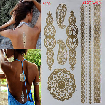 Temporary body art style of tattoos shiny gold and silver metal temporary flash disposable indians tattoo