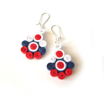 White, Red and Blue Quilled Paper Earrings, Dangle Earrings with Quilled Elements, Quilled Paper Earrings, Quilling Jewelry