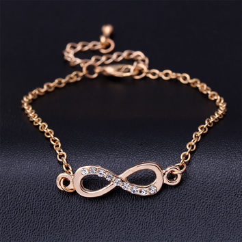 pulseras infinite charm of infinity symbol Figure 8 CZ bracelet charm bracelet eternity friendship bracelets for women Gold