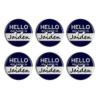 Jaiden Hello My Name Is Plastic Resin Button Set of 6