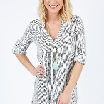 Vertical Stripe Tunic Dress by ALLISON JOY