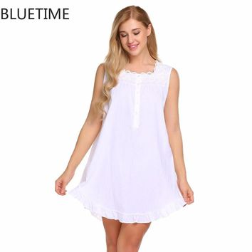 Women Lace Dress Cotton Sleepwear Nightwear Sexy Loose Night Shirt Nightgown Female Plus Size Nightshirt Chemise Lady Clothing