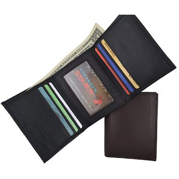 Swiss Marshal Men's Classic Trifold Credit Card ID Money Holder Soft Genuine Leather Wallet SM-P1155