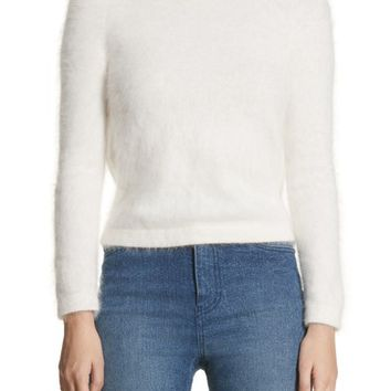 Brandon Maxwell Drape Back Angora Blend Sweater | Nordstrom
