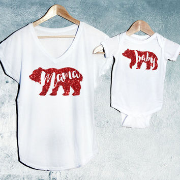 Valentine's Day Special Mama Bear + Baby Bear T-shirt White Set of 2, Mama Bear V-Neck T-shirt, Baby Bear T-shirts, Baby shower gift