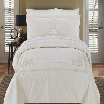 Athena Embroidered 3-Piece Duvet cover Set