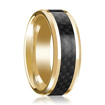14K Yellow Gold Ring with Black Carbon Fiber Inlay Beveled Edge Wedding Band Polished Design