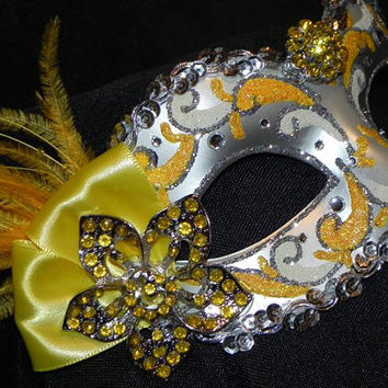Feather Masquerade Mask in Shades of Yellow and Silver