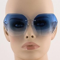 Oversized Rectangular Frame-less Crystal Cut Metal Arm Stylish Womens Sunglasses