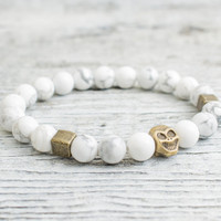 White howlite stone beaded stretchy bronze skull bracelet, custom made yoga bracelet, mens bracelet, womens bracelet