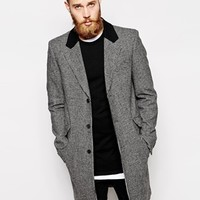 ASOS Wool Overcoat In Dogtooth at asos.com