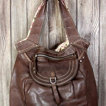 Fossil Brown Leather Shoulder Handbag Soft Casual Womens Deep Purse