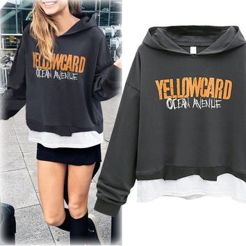 Autumn New Style Letter Print Layered Hoodie Fleeces Loose All Matched Long Sleeve Hoodie