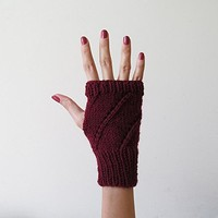 Hand Knit Fingerless Gloves in Burgundy - Arm Warmers - Womens Seamless Knit Gloves - Winter Fashion