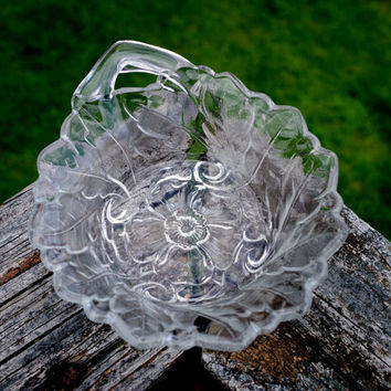 Vintage Wild Rose Relish Dish-  Indiana Glass Candy Nut Bowl- Handled Nappy Trinket Cup- Pressed Glass Condiment Serving Piece
