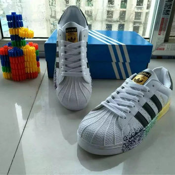 """Adidas"" All-match Fashion Couple  Casual Inked Three Bars Shell Head Plate Shoes  Sneakers Shoes Small White Shoes"