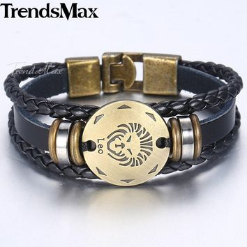 Bracelets 12 Horoscope Men's Leather Bracelet Vintage Retro Charm Male Jewelry Gifts Leo Cancer Aries Zodiac Sign KLBM136