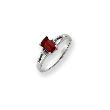 0.024 Ct  14k White Gold 6x4mm Emerald Cut Ruby Diamond Ring SI2/SI3 Clarity and G/I Color