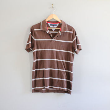 Tommy Hilfiger Polo Tee Brown Stripes Cotton Slim Fit Button Up Tee Minimalist Vintage 90s Size L#T146A