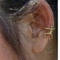 Ear Cuff Brass Non Pierced Unisex Ear Wrap Little Dancing Man EarCuffs