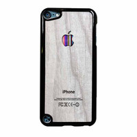 Apple Logo On White Wood Colorful iPod Touch 5th Generation Case