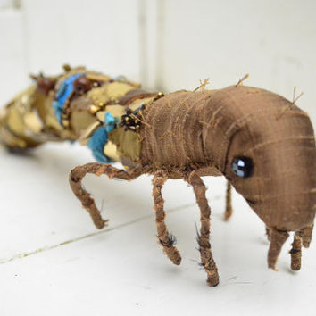 Caddisfly larvae textile sculpture, handmade fabric insect art doll, turquoise, brown and gold bug