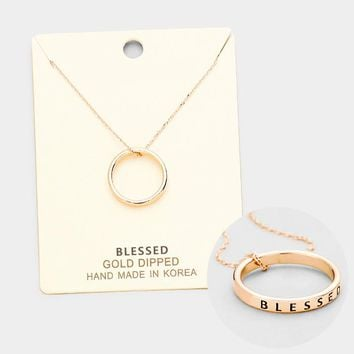 """""""Blessed"""" Gold Dipped Metal Ring Pendant Necklace"""