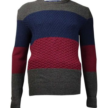 Tommy Hilfiger Men's Ziggy Colorblocked Cable-Knit Sweater (XL, Zinfandel)