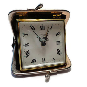 Travel Alarm Clock . Vintage Travel Clock . Coin Purse Clock . Kaiser, West Germany .