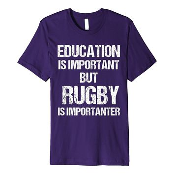 T-Shirt Funny Fun Education Important But Rugby Christmas