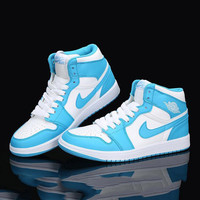 Nike Air Jordan Retro 1 High Tops Contrast Sports shoes White Blue hook G-CSXY